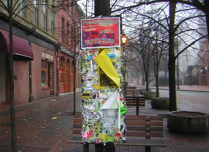 Posters in downtown Portland, Maine
